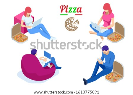 Isometric icons of freelances working and eating pizza, office work and remote work.