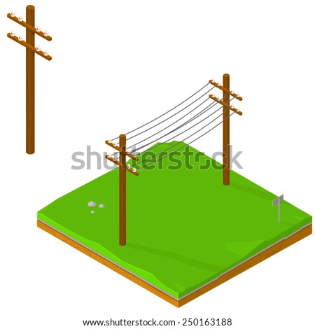 isometric icons of power lines