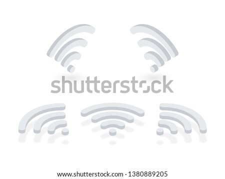 Isometric icons set of Wi-Fi signal. Wireless signal pictograms presented at different angles on white background. Internet connection symbols used on laptop, router, modem, tablet, mobile phones