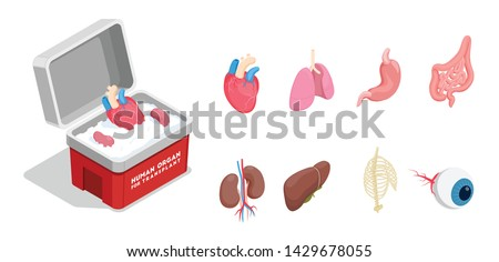 Isometric icons set with different donor human organs for transplantation isolated on white background 3d vector illustration Stock photo ©