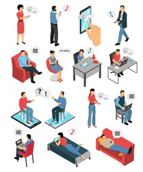 Isometric icons set with people during chatting by phone, in messengers and social networks isolated vector illustration