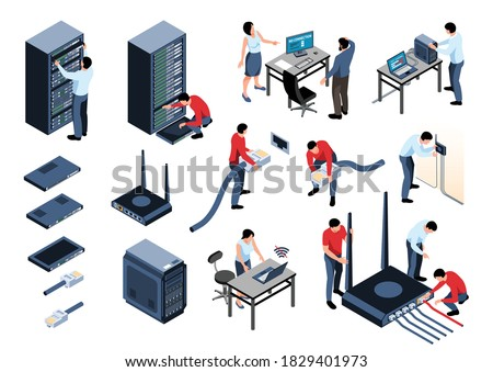 Isometric icons set with system administrator office workers computer hardware router isolated on white background 3d vector illustration Сток-фото ©
