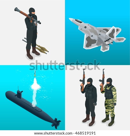 Isometric icons submarine, aircraft, soldiers. Flat 3d high quality military vehicles transport.