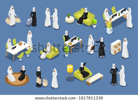Isometric icons with arab women and arab men. Arab people talking on the phone, Arab businessmen, women dining. Saudi people in workplaces isolated vector illustration