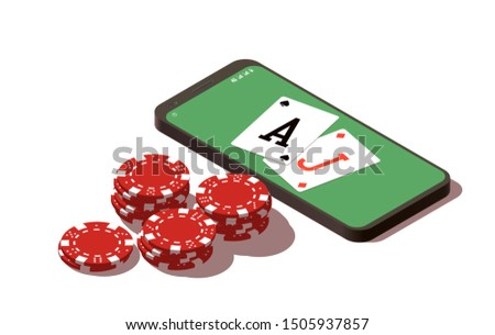 isometric illustration Blackjack in Online casino mobile phone app. Banner with Twenty-One and roulette Banner Online Casino isometric mobile phone app roulette and Blackjack Twenty-One Jackpot poster