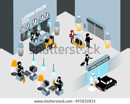 isometric illustration design of hotel lobby, reception hotel ground floor interior concept