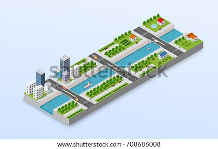 Isometric illustration of a city waterfront with a river, yachts and  buildings and houses