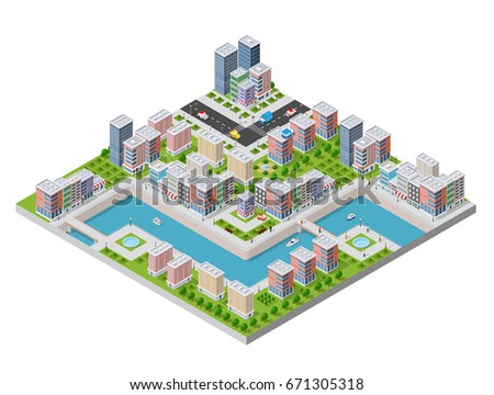 Isometric illustration of a city waterfront with a river, yachts and urban buildings and houses
