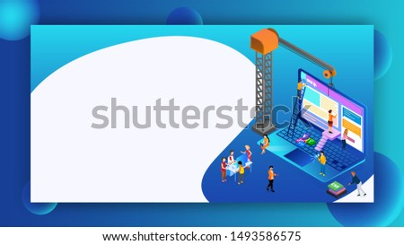 Isometric illustration of analysts or developers searching the problem with tower crane and different programming language sign for Teamwork or Web Development concept based isometric design.