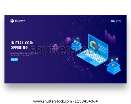Isometric illustration of laptop connected with crypto servers for Initial Coin Offering (ICO) concept based landing page design.