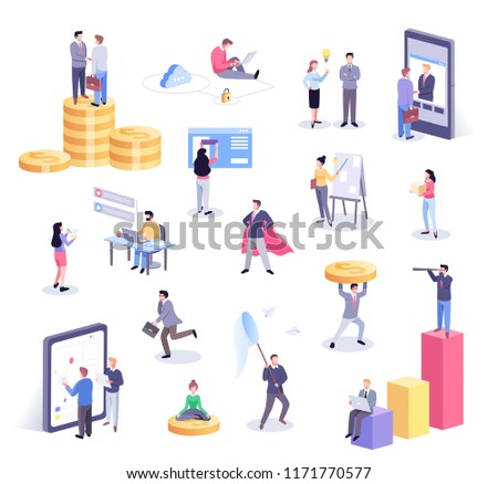 Isometric illustration of office workers and business people working together and mobile devices: business management, online communication and finance concept