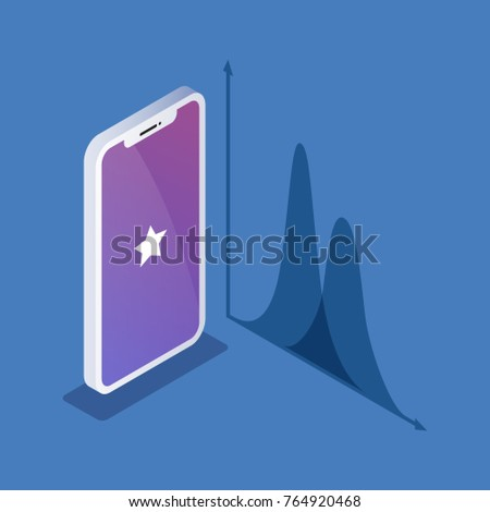 Isometric illustration of phone or smartphone isolated on a blue background next to a diagram image.