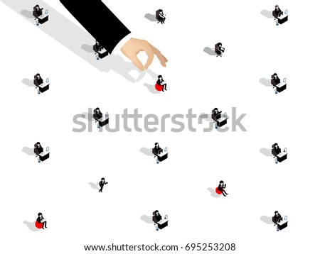 isometric illustration vector of recruitment design concept, business man choosing office worker from group of business people. #695253208