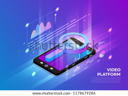 Isometric illustrations design concept mobile technology solution on top with search engine. Gradient background and digital graph chart thin line. Vector illustrate.