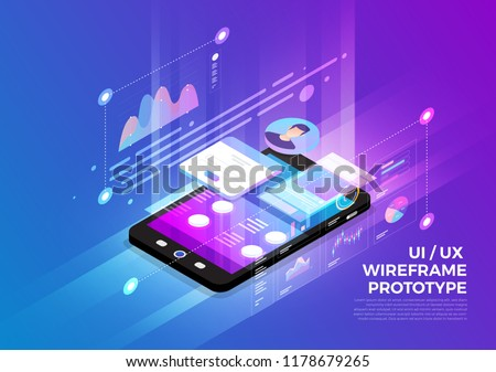 Isometric illustrations design concept mobile technology solution on top with UX/UI wireframe prototype. Gradient background and digital graph chart thin line. Vector illustrate.