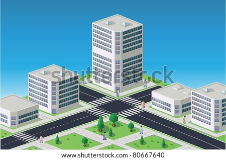 Isometric image of a fragment of the city on a colored background