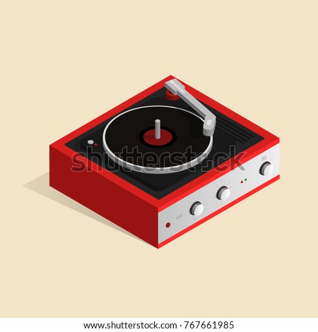 isometric image of a gramophone