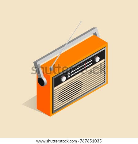 Isometric image of an old retro radio.