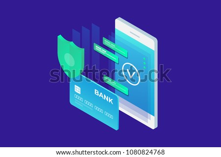 Isometric image of phone and Bank card on blue background. Concept of mobile payments, personal data protection. 3d flat design. Vector illustration.
