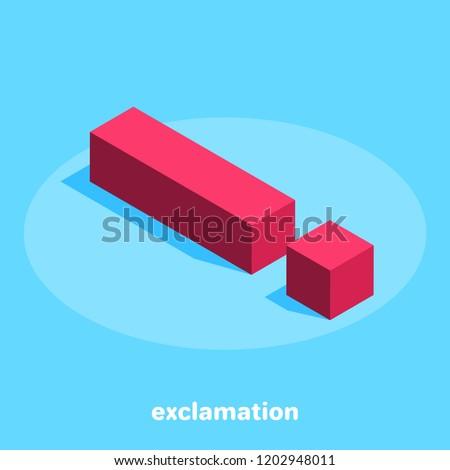 isometric image on a blue background, red exclamation mark