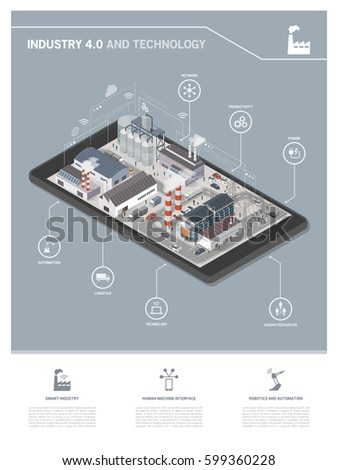 Isometric industrial park with people and vehicles on a smartphone, industry 4.0 and augmented reality concept