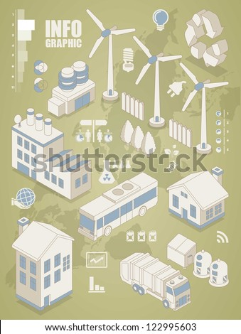 isometric info graphics, ecology vector elements,city icon set