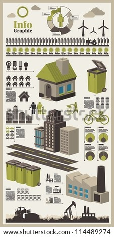 isometric info graphics, ecology vector elements,city icon set,set 1 - stock vector