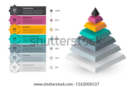 Isometric Infographic design with 7 options leves or steps. Infographics for business concept. Can be used for presentations banner, workflow layout, process diagram, flow chart, info graph