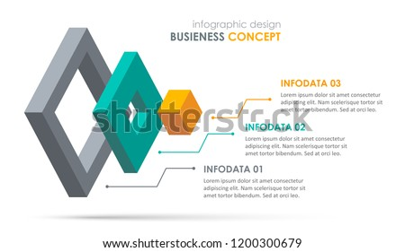 Isometric Infographic design with 3 options leves or steps. Infographics for business concept. Can be used for presentations banner, workflow layout, process diagram, flow chart, info graph