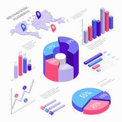 Isometric infographic elements with charts, diagram, pie chart, world map with pins and graphs with percent. Set of Isometric bar charts vector flat illustration isolated on white background.