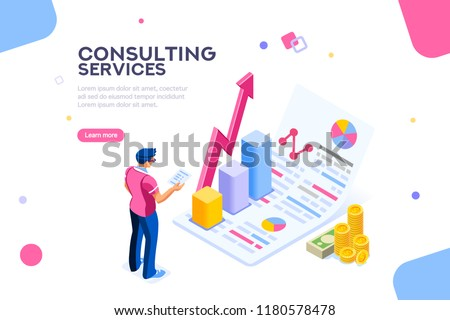 Isometric infographic of consult and administration. Corporate risk graph to engineering advertising value. Account planning grow, management or calculate report of audit. Business Vector illustration