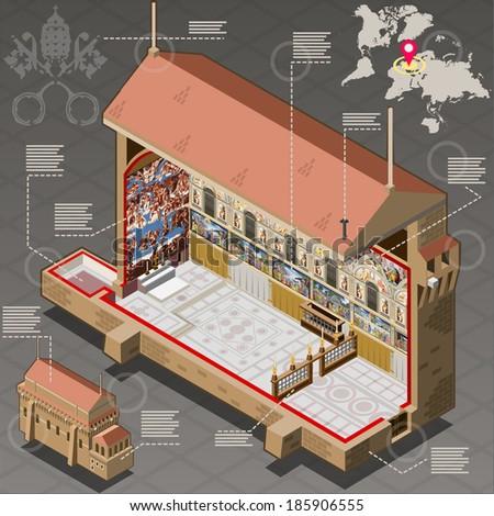 isometric infographic vatican