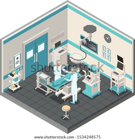 Isometric interior of modern Surgery Department. Hospital surgery operating theater with professional tool equipment. Two doctors and the patient on the operational table.