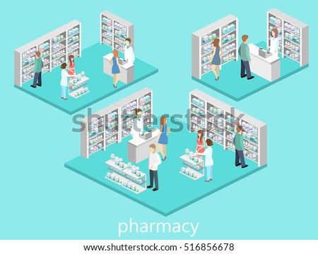 Isometric interior of pharmacy. Flat 3D vector infographic illustration