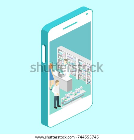 Isometric interior of pharmacy. Flat 3D vector infographic illustration. Mobile technologies. Online purchase of medicines in the pharmacy