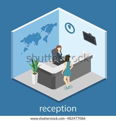 isometric interior of reception