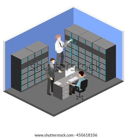 isometric interior of server room. Flat 3D illustration.