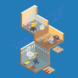 Isometric interior repairs concept. Repairer is laying tile. Tiler is tying colorful tile. Plumber is installing washbasin in a bathroom. Vector flat 3d illustration.