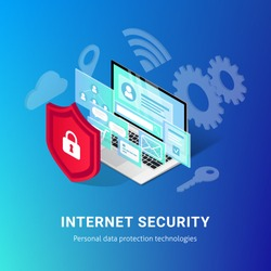 Isometric internet security banner on blue background. Data protection vector illustration with laptop, 3d screen and shield. Safety and confidential personal information concept. For web, infographic