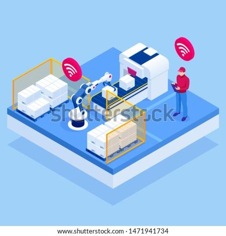 isometric iot smart industry 4