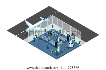 Isometric is a large airport hall, waiting room, a transaction area, passengers are waiting for boarding with a luggage, business trip, window aircraft