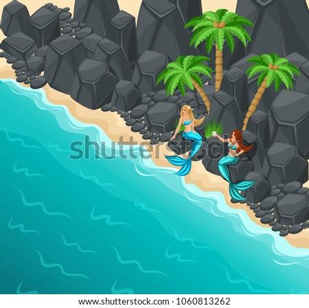 isometric island  two mermaids