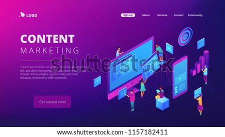 Isometric IT specialists working with charts on content marketing landing page. Business analysis, content strategy and management concept. Ultra violet background. Vector 3d isometric illustration.