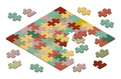 Isometric jigsaw puzzle. Illustration suitable for advertising and promotion