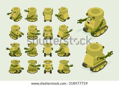 isometric khaki military robot