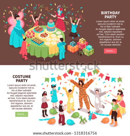 Isometric kids animator horizontal banners set with children characters and entertainers in festive costumes with text vector illustration