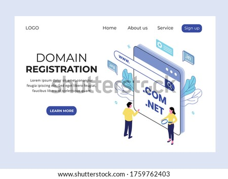 Isometric Landing page of Domain Registration Stock photo ©