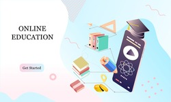 Isometric landing page template concept of Online Education for banner and website in memphis style background. Online training courses, university studies, e-learning research. Vector illustration.