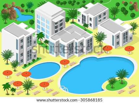 Isometric landscape of luxury beachfront hotel with swimming pools for summer rest. Set of detailed buildings, lakes, waterfall, beach with palms. Vector 3d isometric map