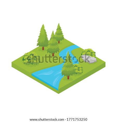 isometric landscape with river